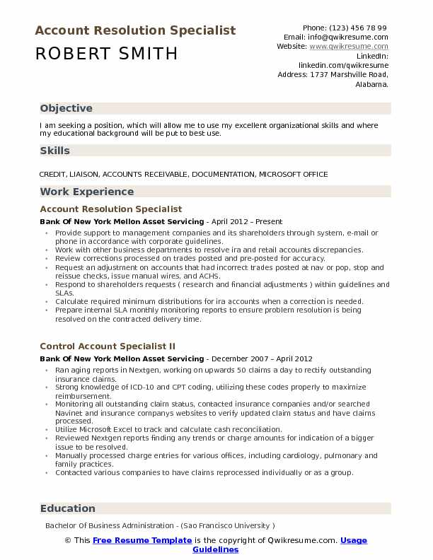 finance resume samples examples and tips headline for account resolution specialist pdf Resume Resume Headline For Finance