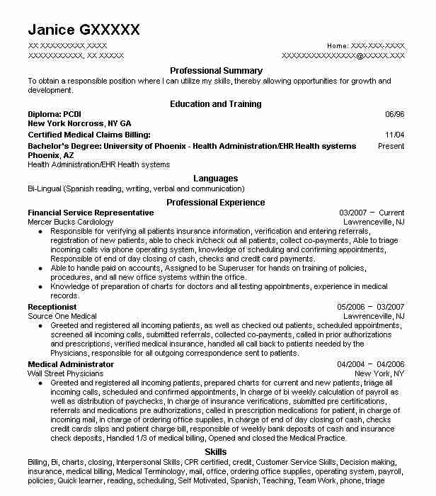 financial service representative resume example td bank wallingford patient services best Resume Sample Resume For Financial Service Representative