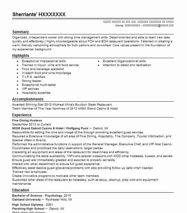 fine dining hostess resume example resumes livecareer examples for restaurant best new Resume Resume Examples For Restaurant Hostess