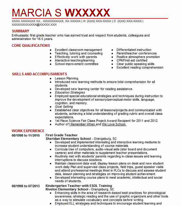 first grade teacher resume example resumes livecareer year another word for team player Resume First Year Teacher Resume