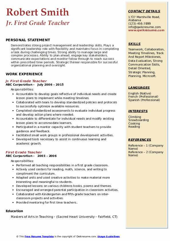 first grade teacher resume samples qwikresume year pdf entry template child care Resume First Year Teacher Resume
