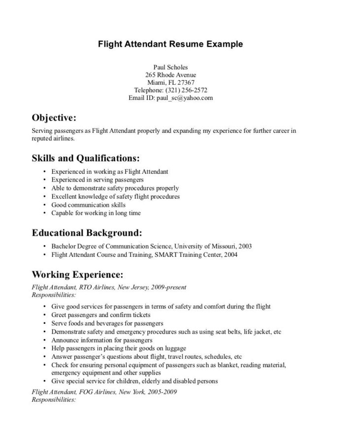 flight attendant resume job description best work and volunteer experience chronological Resume Best Flight Attendant Resume