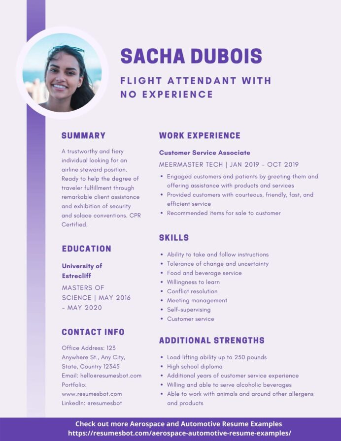 flight attendant with no experience resume samples and tips pdf resumes bot best example Resume Best Flight Attendant Resume