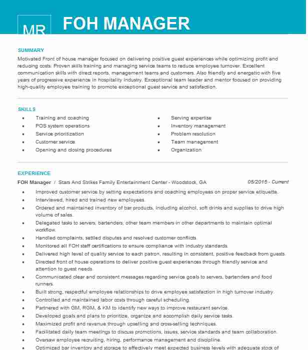 foh manager resume example resumes livecareer front of house staff construction helper Resume Front Of House Staff Resume