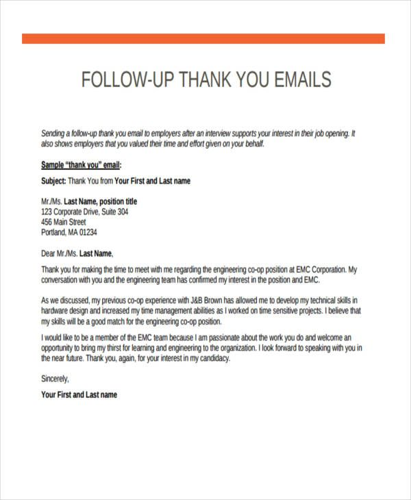 follow up emails after interview thank you email resume letter marine engineer template Resume Follow Up Sample Email After Resume