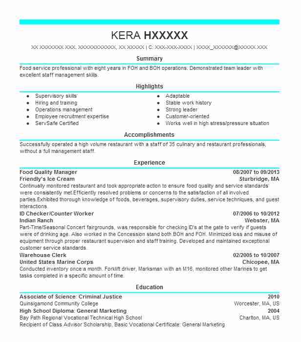 food quality manager resume example livecareer safety sample editable template summary Resume Food Safety Resume Sample