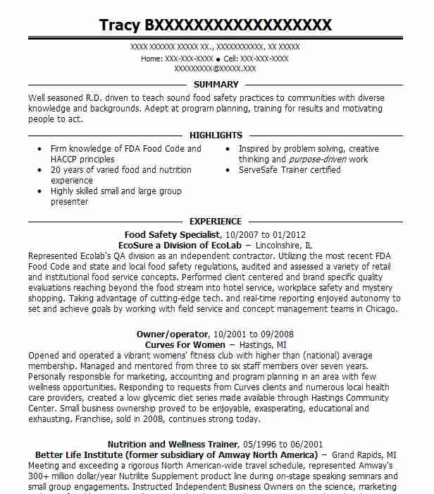 food safety specialist resume example resumes livecareer sample review monster Resume Food Safety Resume Sample