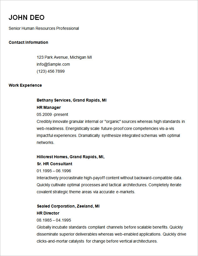 for example of simple resume format examples career objective testing sample devops Resume Simple Resume Format Examples