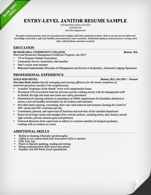 for janitor resume examples format janitorial sample personal highlights on fedex Resume Janitorial Sample Resume Examples