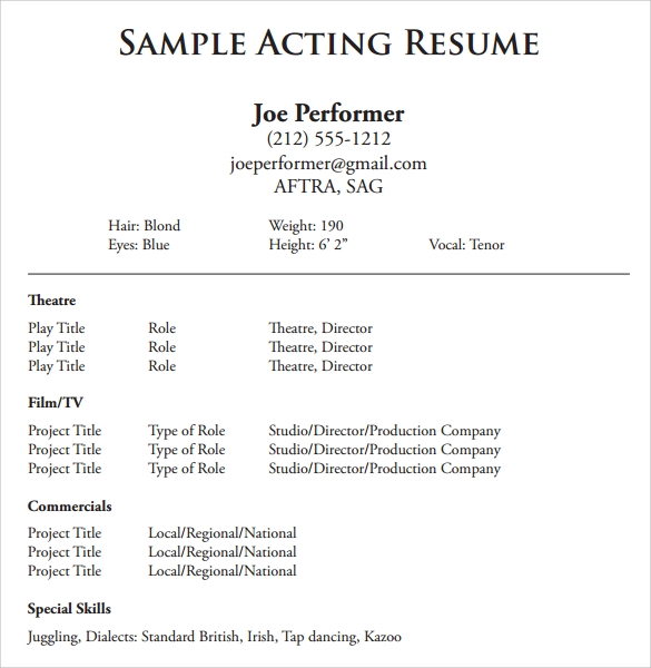free acting resume templates in samples pdf ms word publisher beginner actor template Resume Beginner Actor Resume Template