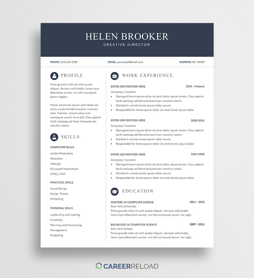 free cv template for word career reload resume templates helen sample with metrics Resume Free Resume Templates