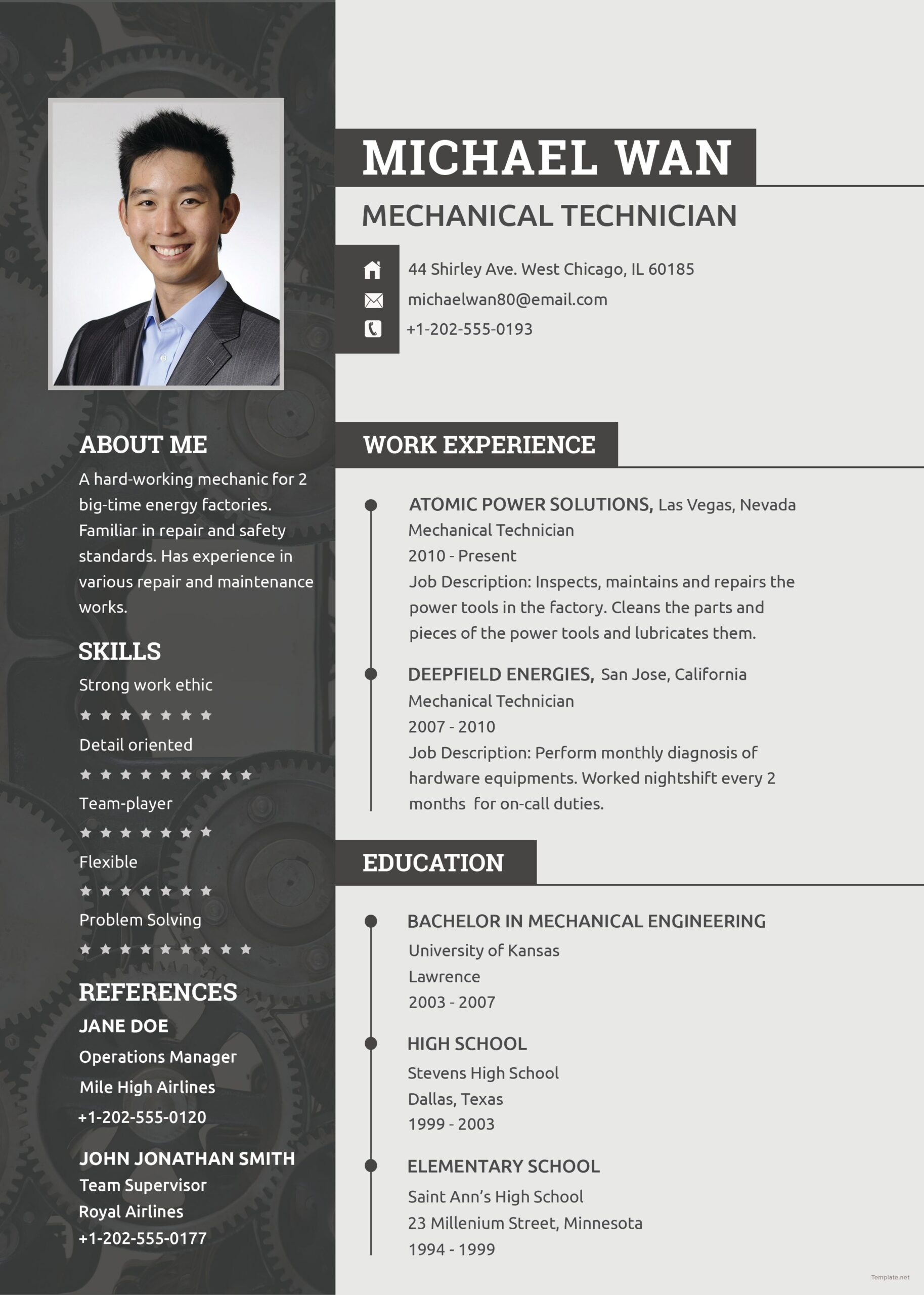 free mechanic resume cv template word apple mac publisher engineering templates change on Resume Engineering Resume Templates Word