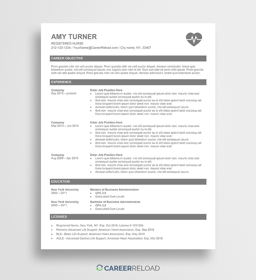 free nurse resume template amy career reload registered office manager summary examples Resume Registered Nurse Resume Template Free