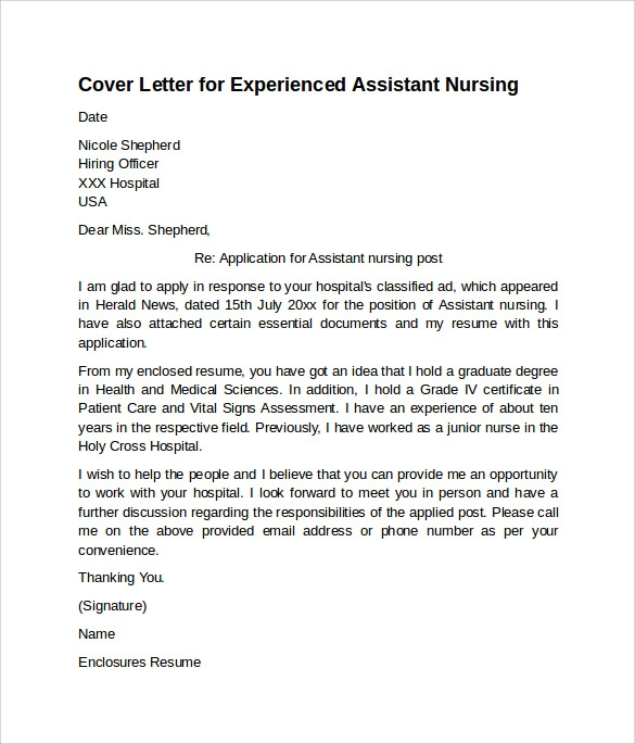 free nursing cover letter examples in pdf sample for resume assistant experienced Resume Sample Cover Letter For Nursing Resume
