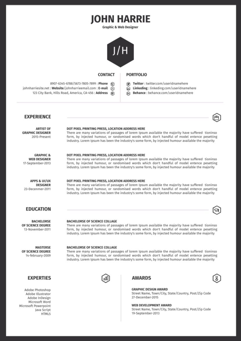 free one resume templates format simple google reverse chronological industry phd webpage Resume One Page Resume Format