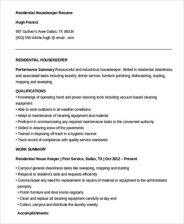 free residential housekeeper resume housekeeping manager do you feel interested to Resume Hospital Housekeeping Resume