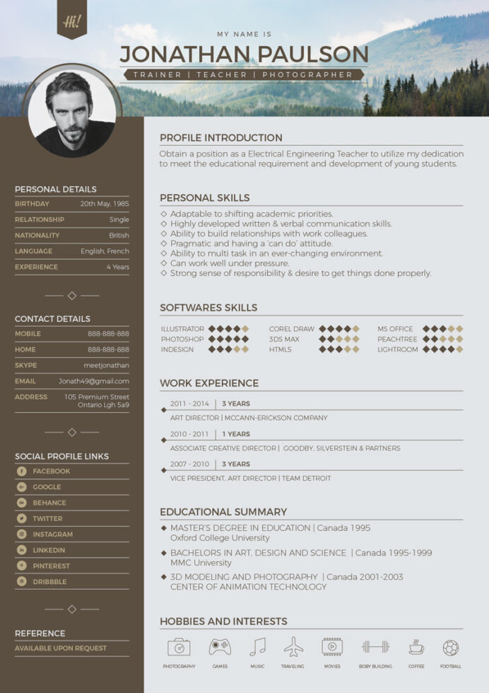 free resume cv template in photoshop format for graphic web designers sketch modern Resume Sketch 3 Resume Template