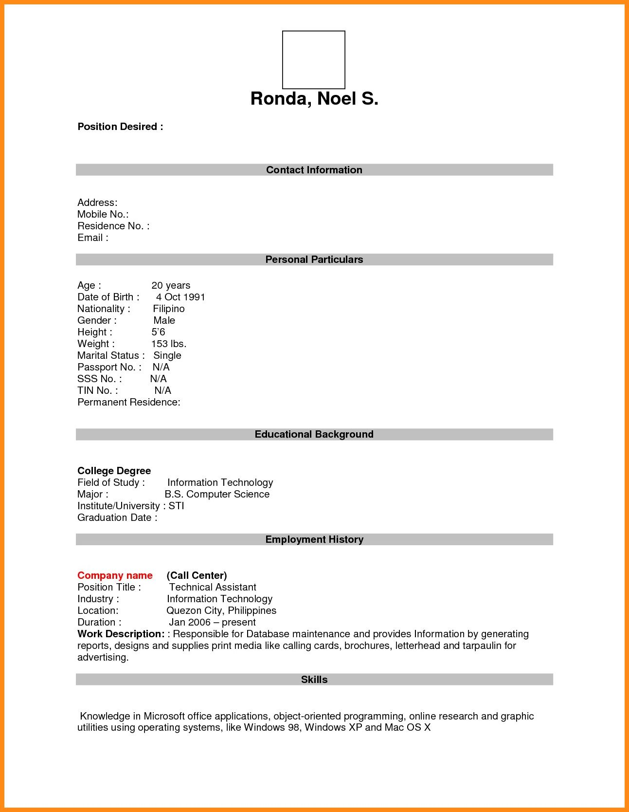 free resume form odr2017 within blank cv template professional job simple format basic Resume Free Basic Blank Resume Template
