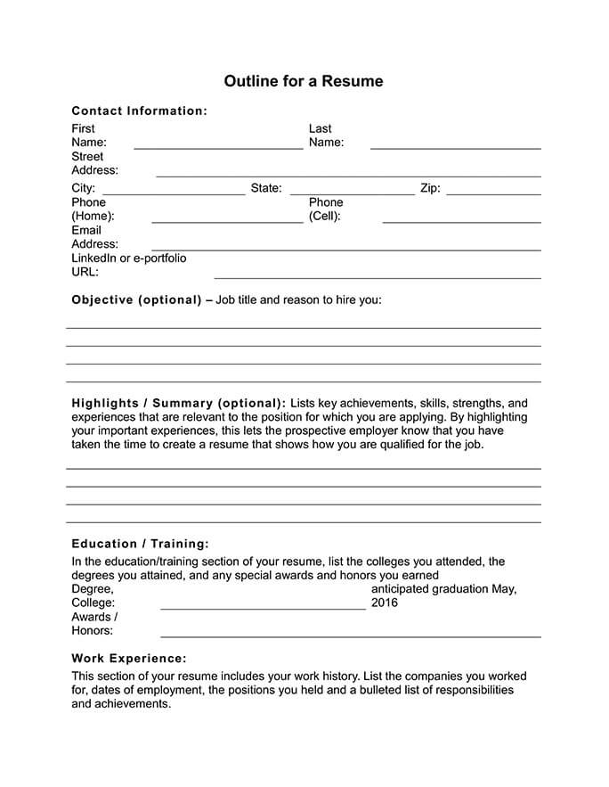 free resume outline templates and step by guide hloom worksheets for students worksheet Resume Resume Worksheets For Students