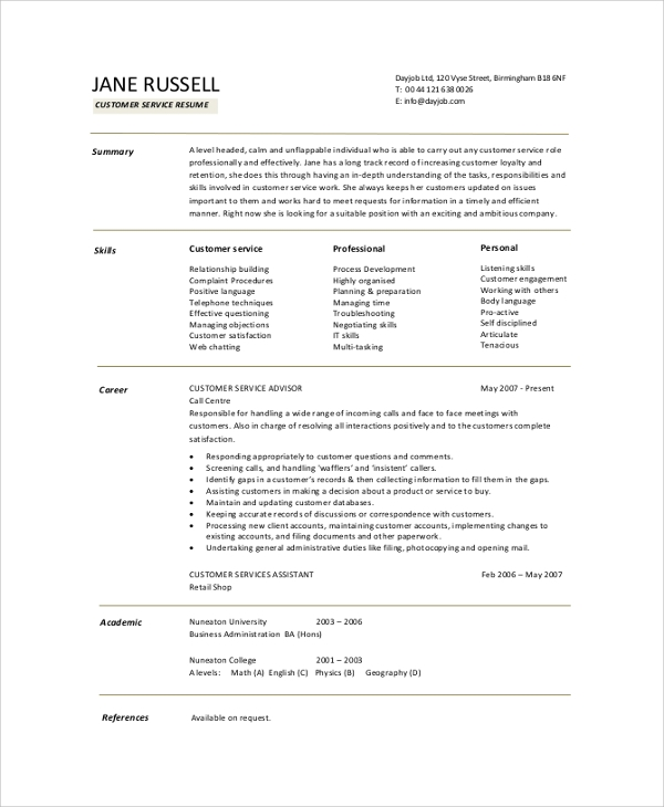 free resume summary samples in pdf ms word simple for customer service example tips great Resume Simple Summary For Resume