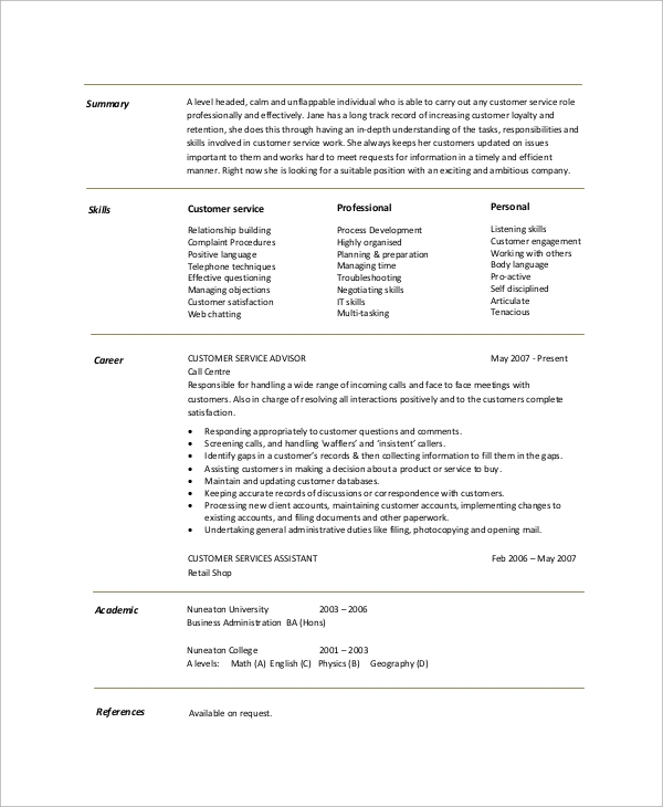 free resume summary templates in pdf ms word customer service overview example for show Resume Customer Service Resume Summary