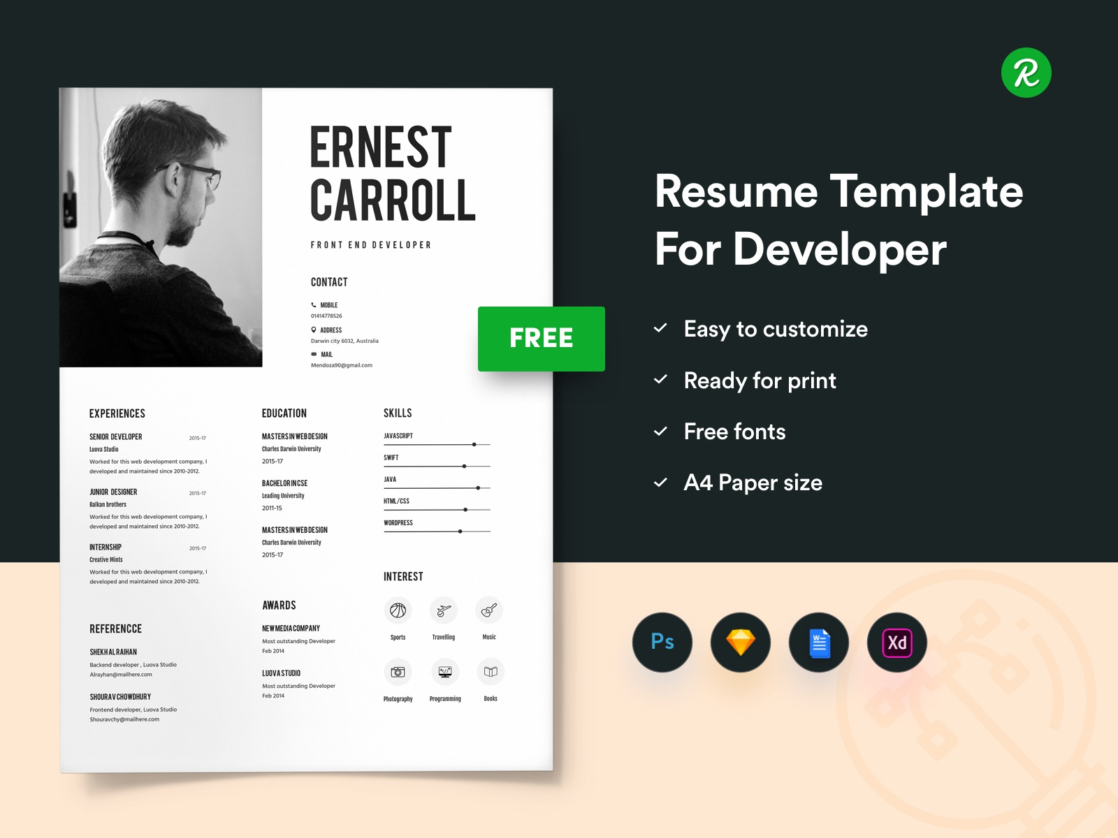 free resume template for developers with portfolio by getresume on dribbble sketch Resume Sketch 3 Resume Template