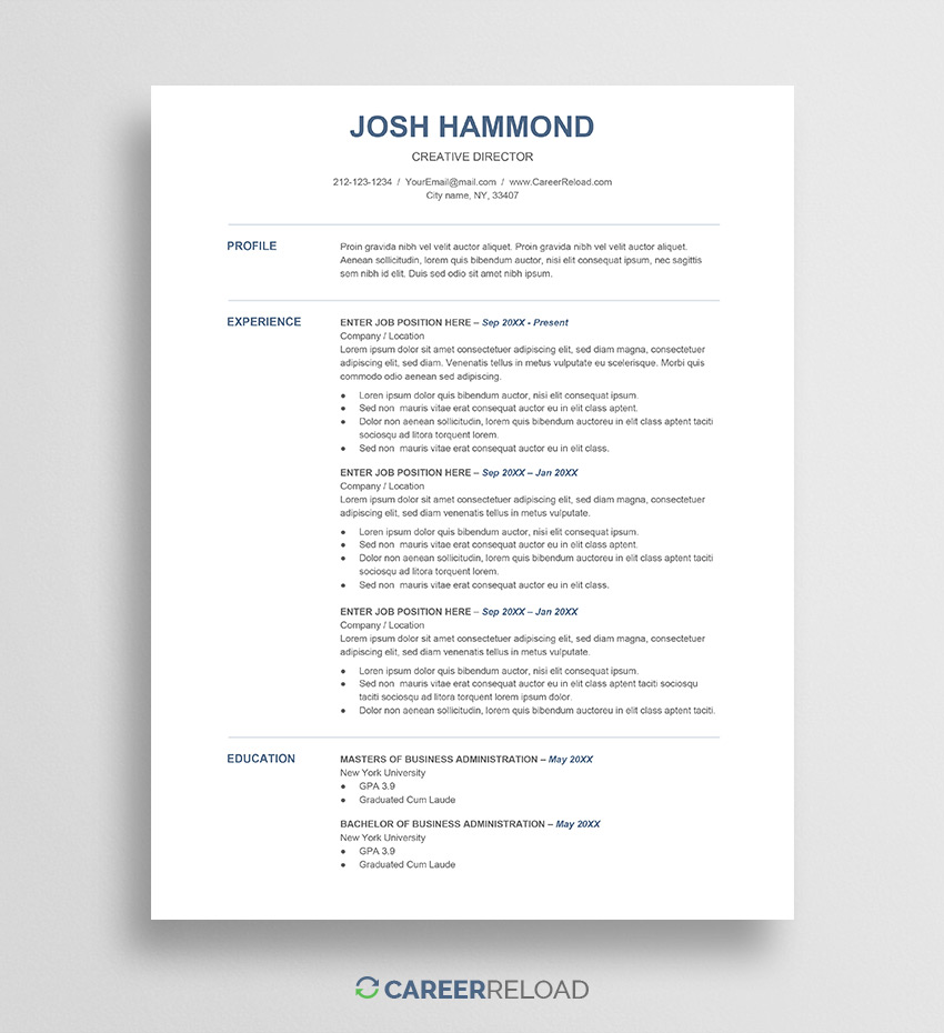 free resume template for google docs career reload templates josh make your own indian Resume Chronological Resume Template Google Docs
