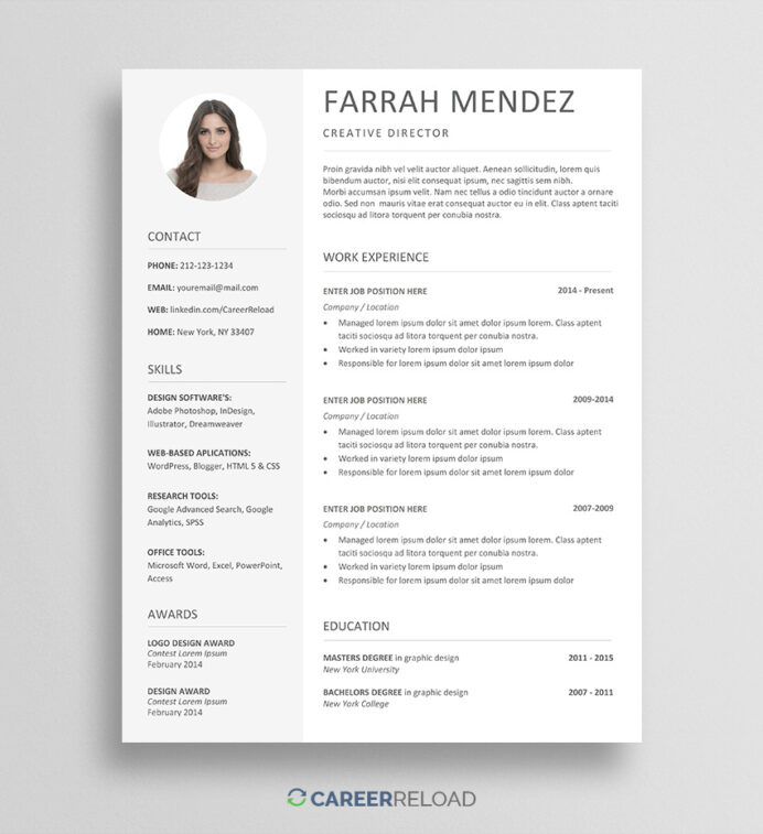 free resume template for word career reload templates farrah winnipeg casual teaching now Resume Casual Teaching Resume Template