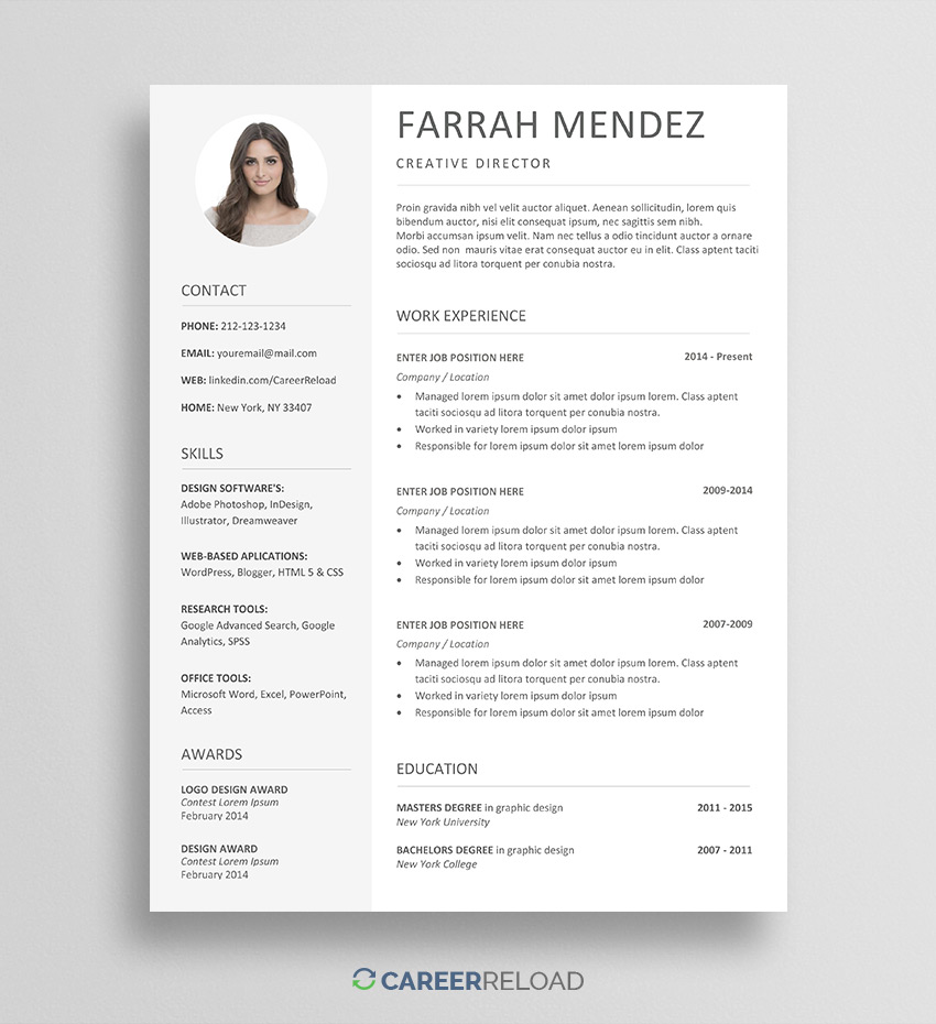 free resume template for word with photo templates farrah good and cover letter examples Resume Free Resume Templates Free