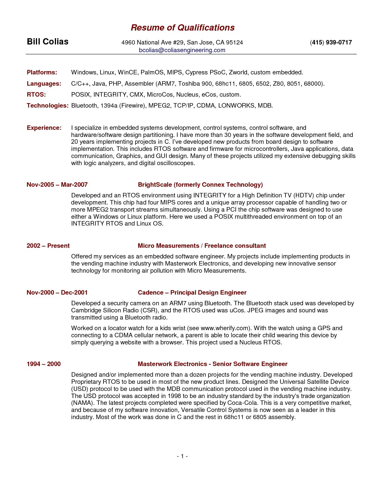 free resume template summary qualifications skills examples professional for leadership Resume Qualifications For Resume