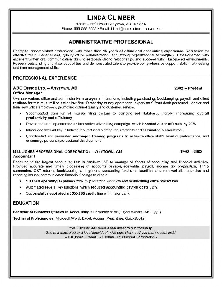 free resume templates examples administrative assistant skills objective sample format Resume Canadian Resume Format Sample