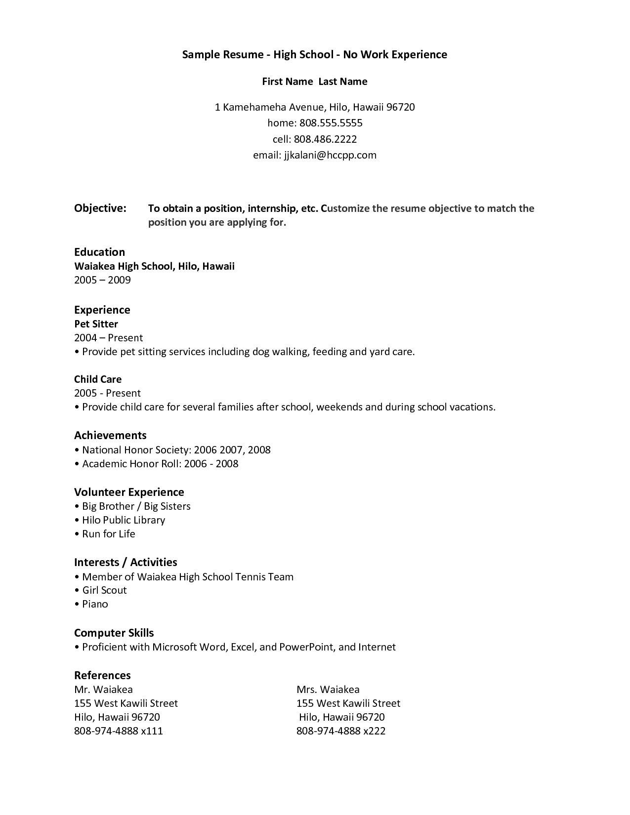 free resume templates no work experience first job examples student template after Resume Resume Template After First Job