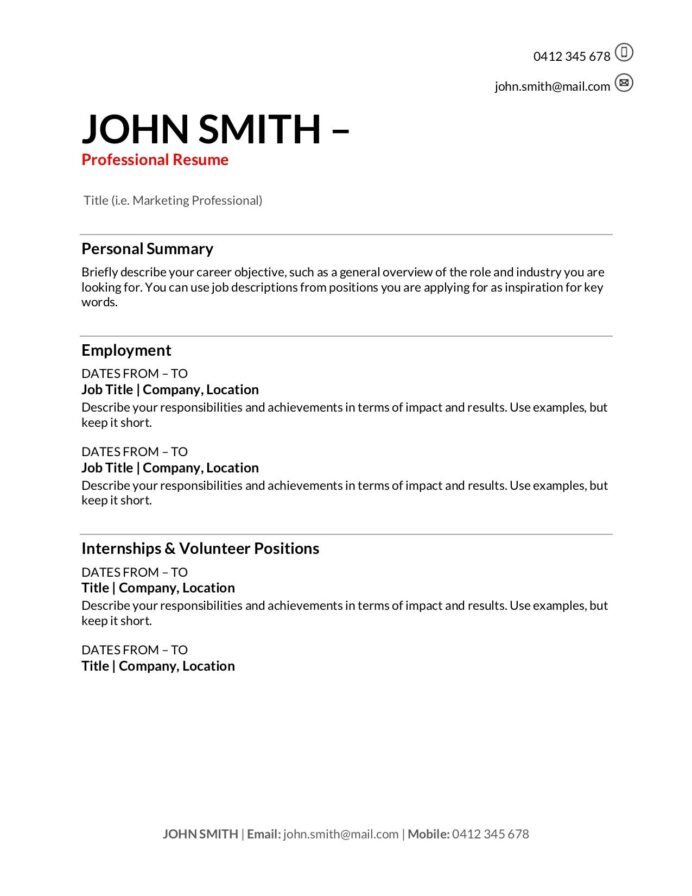 free resume templates to write in training au with one term job corporate recruiter Resume Free Resume Template For Long Term Employment