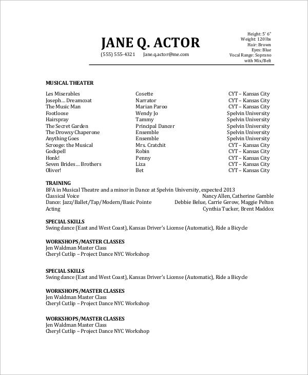free sample actor resume templates in pdf professional acting template actors with no Resume Professional Acting Resume Template