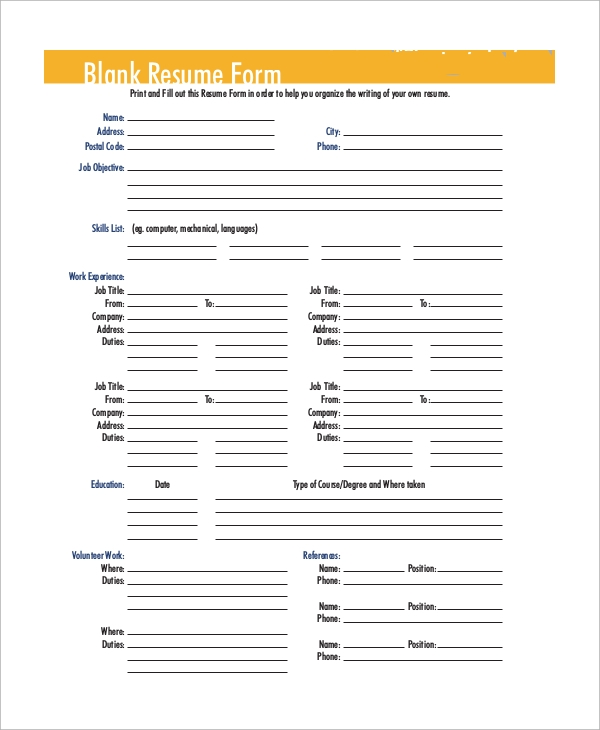 free sample blank resume templates in ms word pdf fill up form beta gamma sigma honor Resume Free Resume Fill Up Form