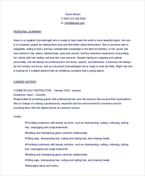 free sample cosmetology resume templates in pdf ms word example recent graduate student Resume Cosmetology Resume Example Recent Graduate
