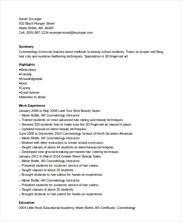 free sample cosmetology resume templates in pdf ms word example recent graduate Resume Cosmetology Resume Example Recent Graduate