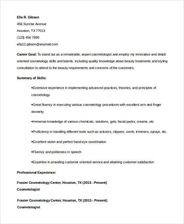 free sample cosmetology resume templates in pdf ms word student examples for suspend ps4 Resume Cosmetology Student Resume Examples