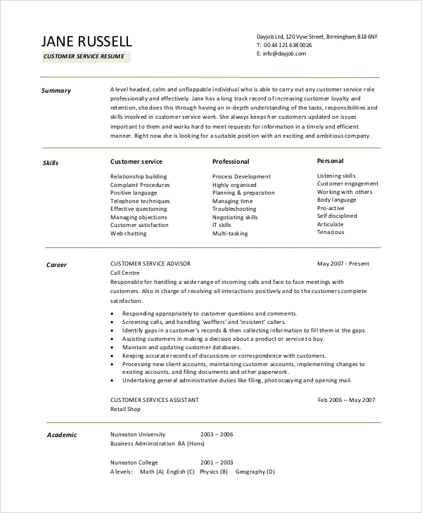 free sample customer service objective templates in pdf ms word resume writing for jobs Resume Resume Writing For Customer Service Jobs