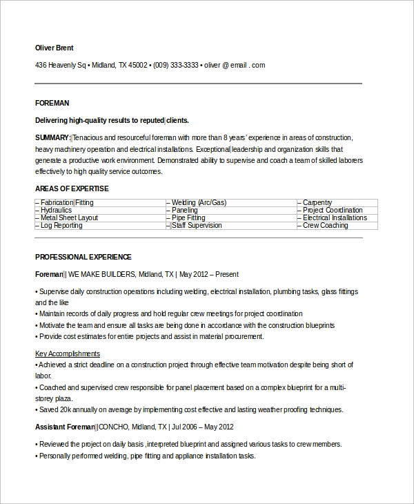 free sample electrician resume templates in ms word pdf fabrication fitter foreman Resume Fabrication Fitter Resume