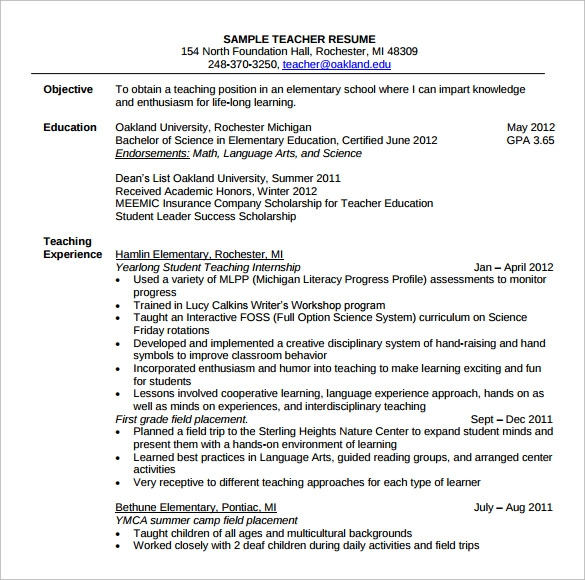 free sample elementary teacher resume templates in pdf ms word objective examples Resume Elementary Teacher Resume Objective Examples