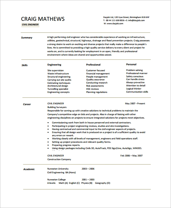 free sample engineering cv templates in pdf civil resume word template pos technician Resume Civil Engineering Resume Templates Word