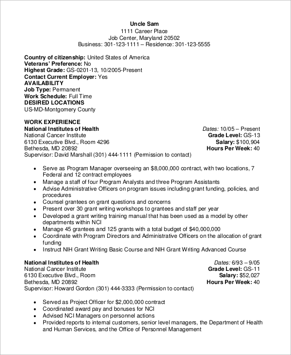 free sample federal resume templates in ms word pdf style government cosmetology example Resume Federal Style Resume Sample