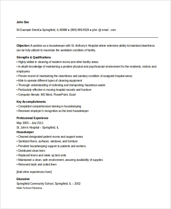 free sample housekeeping resume templates in ms word pdf hospital other experience on for Resume Hospital Housekeeping Resume