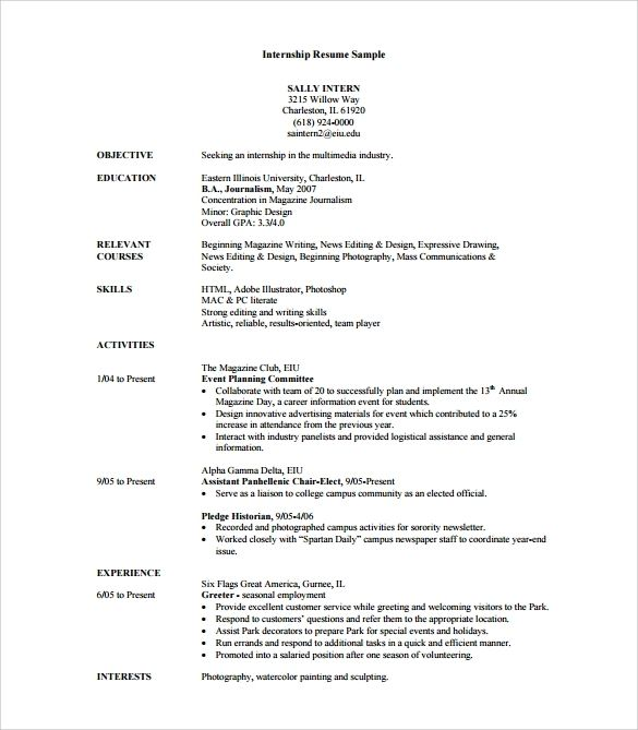 free sample internship resume templates in pdf word template for college student looking Resume College Student Resume For Internship