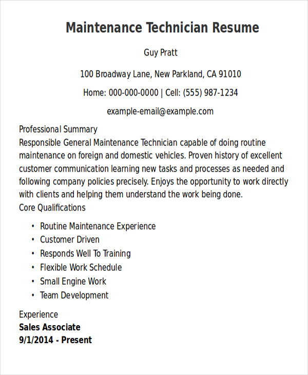 free sample maintenance technician resume templates in ms word pdf examples for general Resume Resume Examples For Maintenance Technician