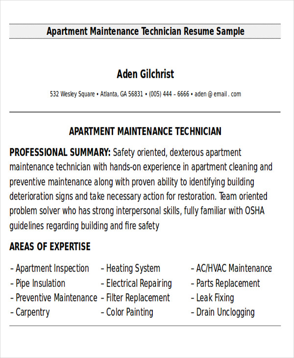 free sample maintenance technician resume templates in ms word pdf for apartment devops Resume Sample Resume For Apartment Maintenance Technician