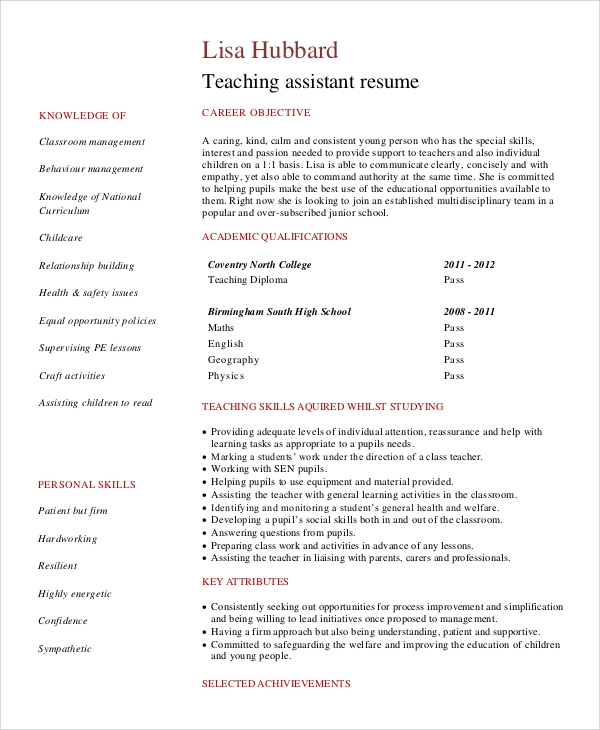 free sample objective statement for resume templates in pdf teacher assistant entry level Resume Teacher Assistant Resume Objective