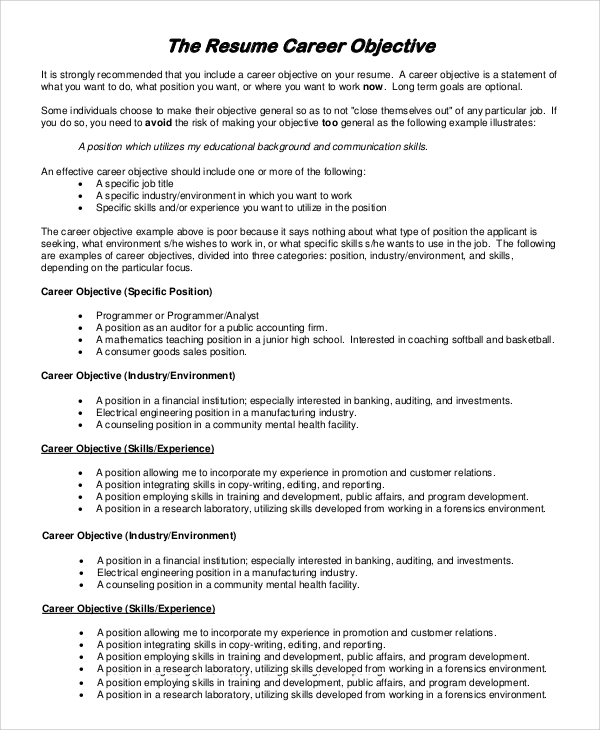 free sample objectives for resume templates in pdf ms word purpose of objective on career Resume Purpose Of Objective On Resume