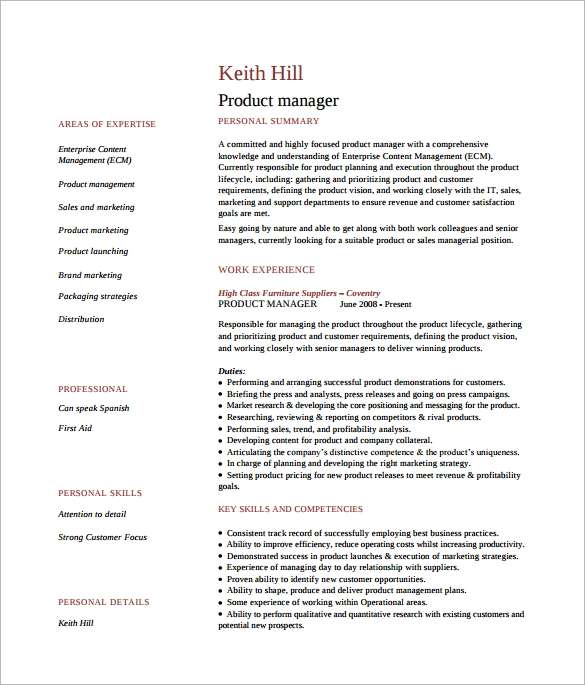 free sample product manager resume templates in pdf ms word template current examples Resume Product Manager Resume Sample